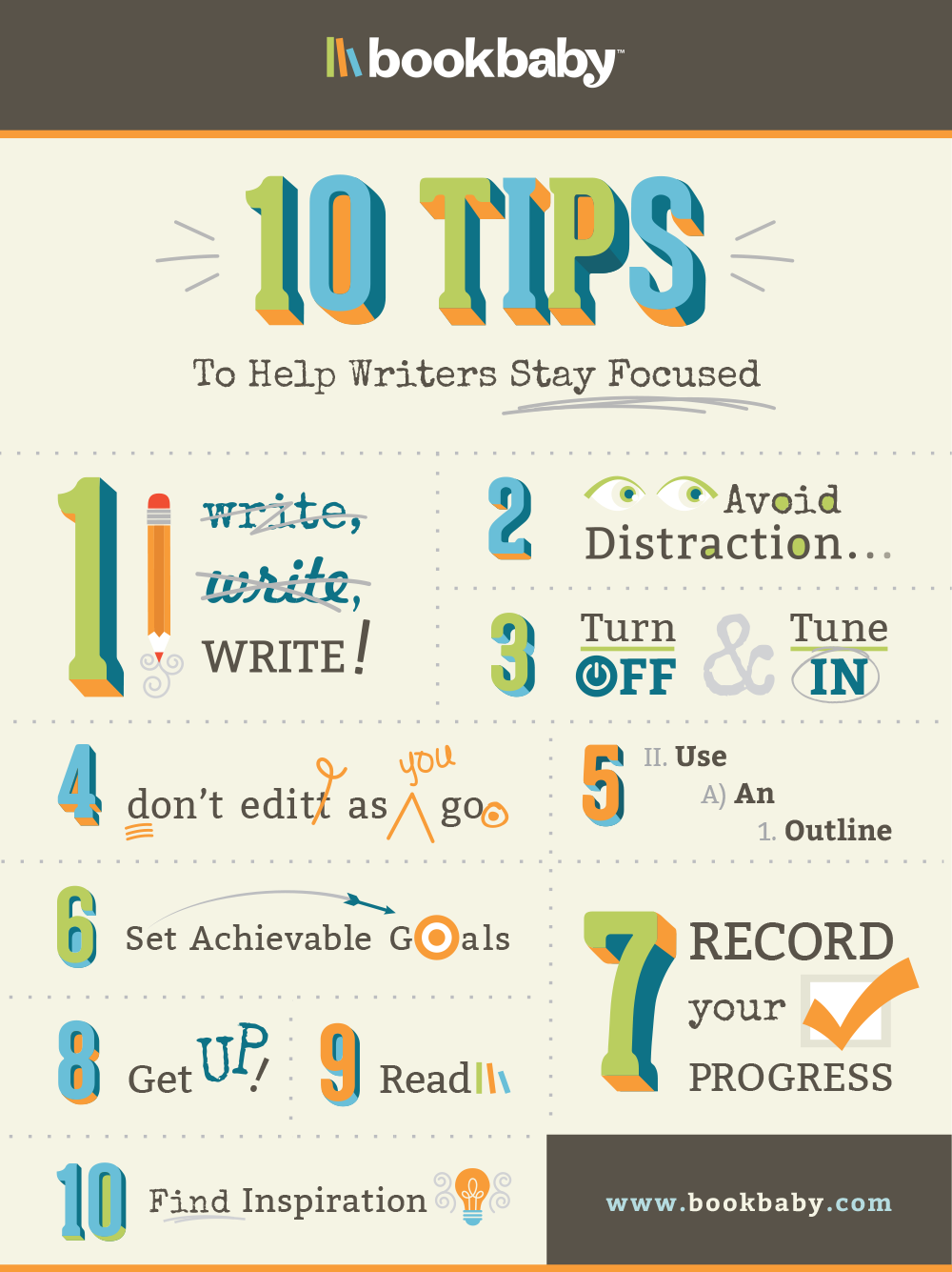 10 Tips to help writers stay focused Infographic